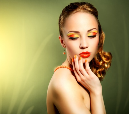 Sensual woman with beautiful make-up on green background Stock Photo - 19562165