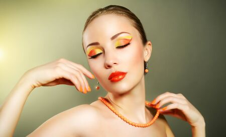 Sensual woman with beautiful make-up on light background Stock Photo - 19563791