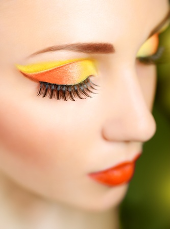 open up: Woman eye with beautiful fashion brigh makeup
