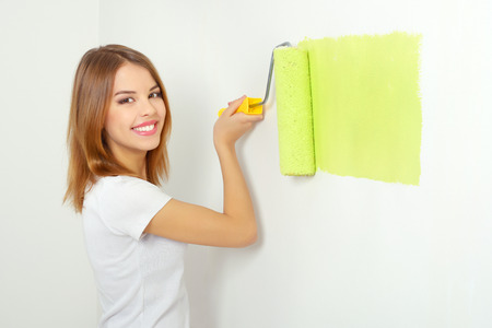 Beautiful girl painting a wall Stock Photo - 26038991