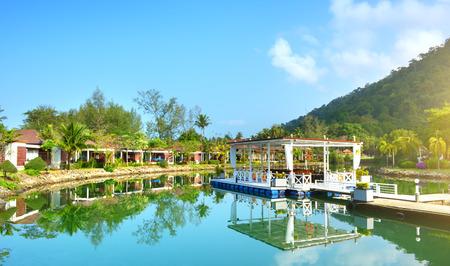 klong: Green garden with lake. Klong Prao Beach, Koh Chang Editorial