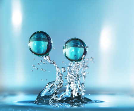 Water drop. Close-up. Light background Foto de archivo