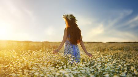 Beautiful girl in daisy field. Summer sunset photo