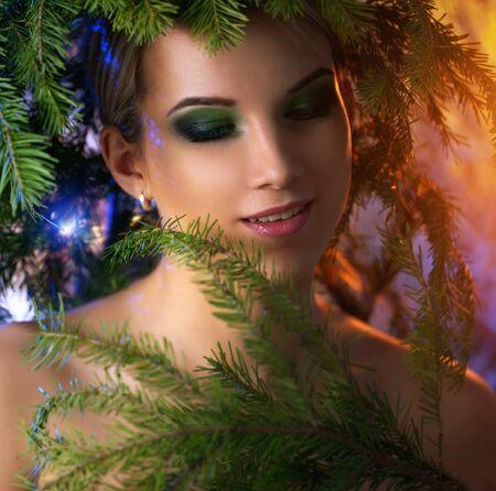 winter woman: Winter Christmas Woman. light background