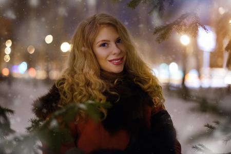 winter woman: Winter woman. On light background