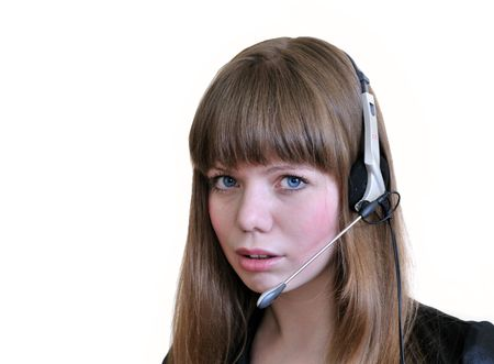 Girl Operator With Headset Over White. Stock Photo - 4836296