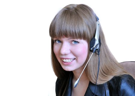 Girl Operator With Headset Over White. Stock Photo - 4836297