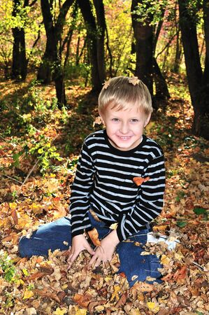 boy playing with yellow maple leaves in the forest  photo