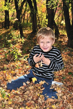 boy playing with yellow maple leaves in the forest