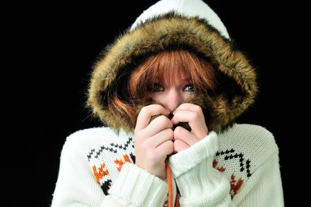 Portrait of beautiful girl wearing winter jacket Archivio Fotografico