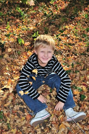 boy playing with yellow maple leaves in the forest. Stock Photo - 5848723
