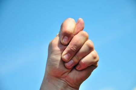 man's hand sticking 2 fingers up at someone Stock Photo - 5907042