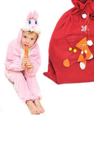 new year rabbit girl with bag of gifts Stock Photo - 5931695