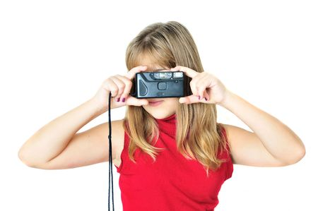 teen girl using  old photocamera over white photo