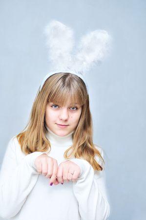 pretty teen girl wearing like a  rabbit  photo