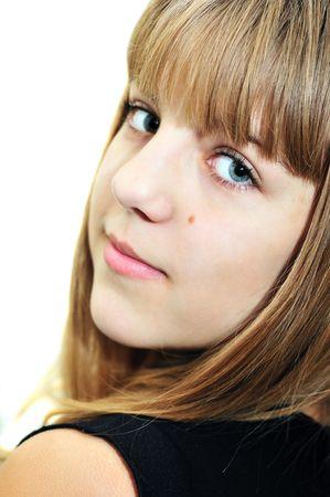 jeune fille adolescente: Gros plan portrait de jeune fille teen souriant, Flou