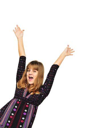 Happy teen girl having fun over the white Stock Photo - 6119369