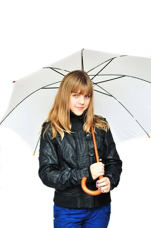 adorable teen girl wearing leather  jacket whit white umbrella over the white photo