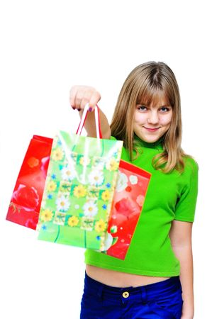 happy shopping teen girl with two pockets Stock Photo - 6119367