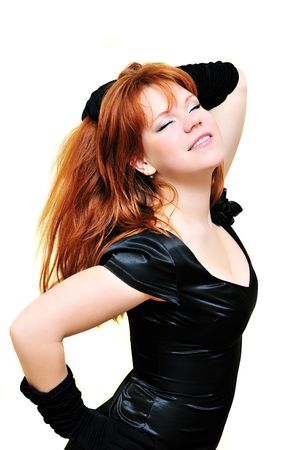 passionative redhaired beautiful girl over the white Stock Photo - 6187181