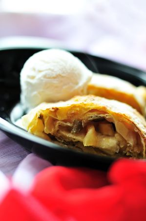 vanil: Apple hot  strudel with vanil ice cream
