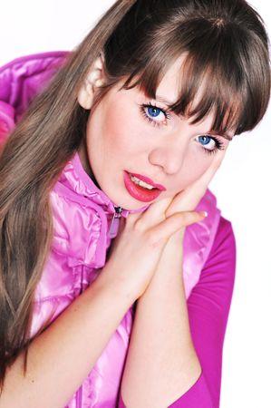 fille de sport portait une veste lilas sur le blanc Banque d'images - 6432738