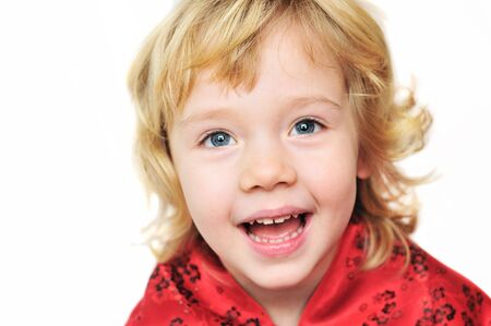 cheerful funny  little blonde  girl