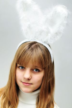 rabit: lovely face of teen  rabit  gilt Stock Photo