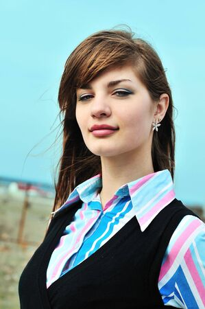 outoors: sweet teen girl with beautiful lips outoors