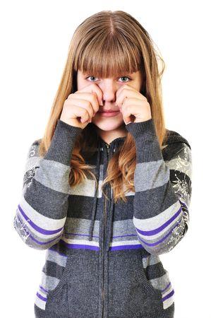 sad teen girl crying over the white Фото со стока