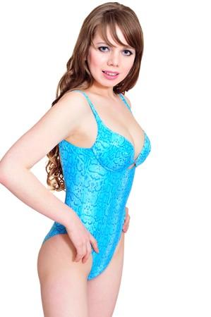lovely longhaired bikini girl over the white photo