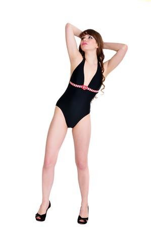 curly slim bikini girl over the white background Stock Photo - 7295955