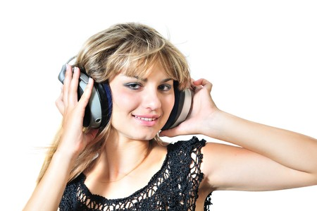 happy lovely teen girl dancing with headphones Stock Photo - 7752839