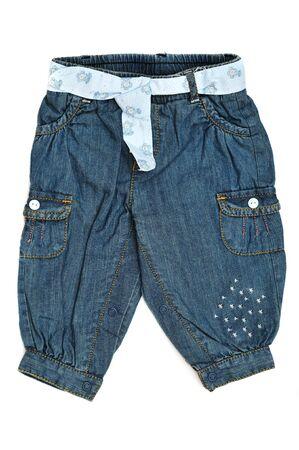 Jeans de beb� con bolsillos sobre el fondo blanco  Foto de archivo - 7974073