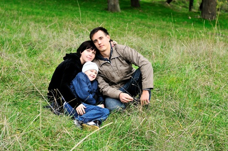 happy family  in the forest during early autumn  Stock Photo - 8344032