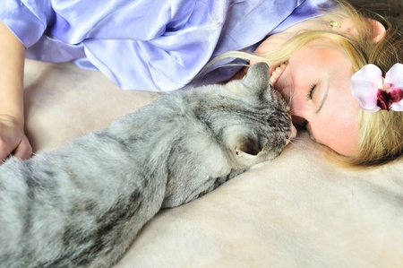 gato gris: ni�a con su gato gris de caressing en casa Foto de archivo