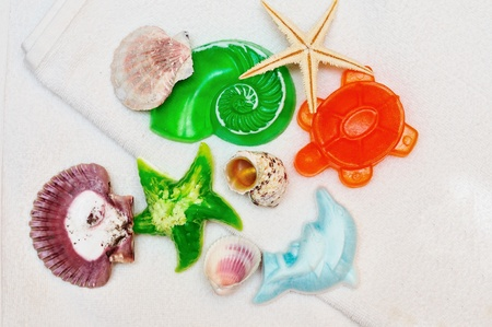 different homemade soaps with shells on the towel Stock Photo - 8344041