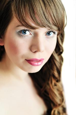 soft portrait of blue-eyed girl photo