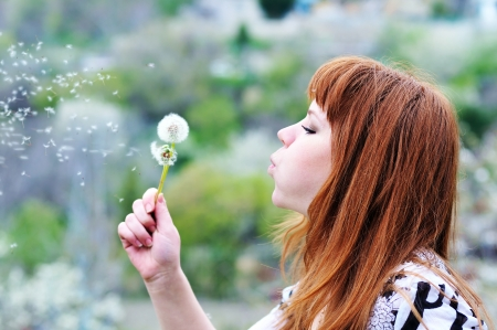 redheaded teen girl blowing on dandelions in spring time  Stock Photo