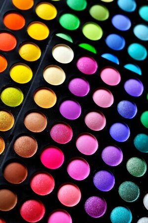 Make-up colorful eyeshadow palettes, as background  photo