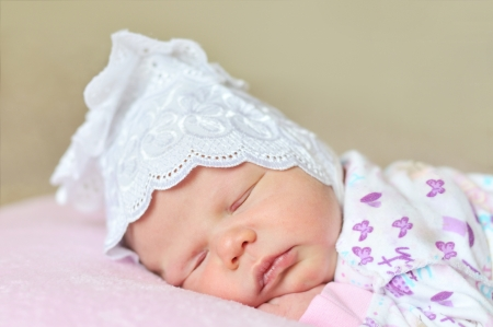 little newborn girl dreaming at home Stock Photo - 14089869