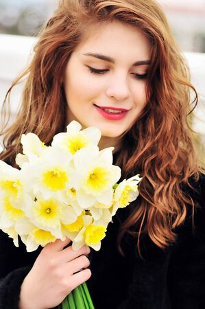 appealing attractive: spring girl in soft selective focus
