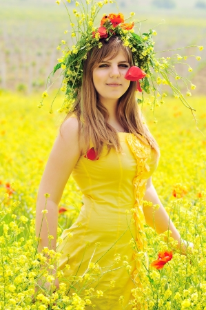 gril wearing yellow dress with wreath in field photo