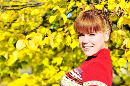 redhead girl in fall time with plait   Stock Photo - 14091046