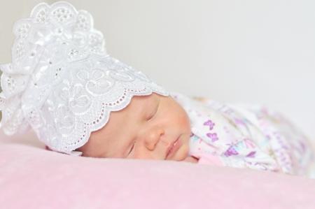 sweet newborn girl dreaming at home Stock Photo - 14090863