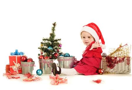 playful santa helper on over the white Stock Photo - 18150119