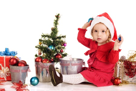little santa helper on over the white Stock Photo - 18150328
