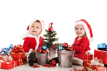 two happy santa helpers over the white Stock Photo - 18150158