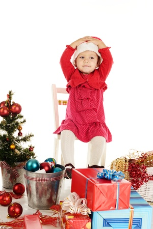 surprised santa girl with hands on head Stock Photo - 18150157