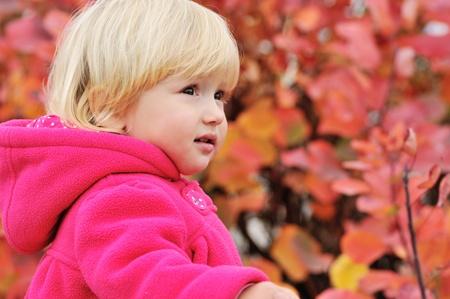 sweet toddler girl looking ahead photo